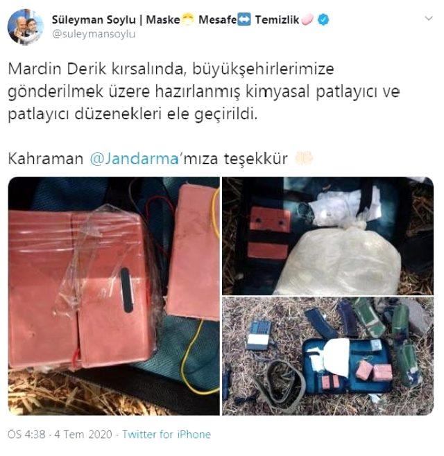 Bakan Soylu: Mardin'de kimyasal patlayıcı ele geçirildi