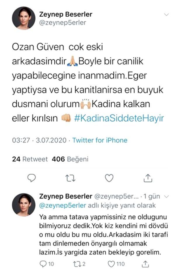 Zeynep Beşerler'den sevgilisini dövdüğü söylenen Ozan Güven'e destek