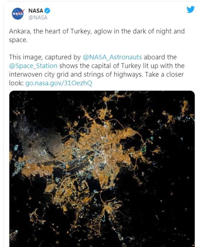 NASA, Ankara'nın astronot tarafından çekilmiş fotoğrafını paylaştı