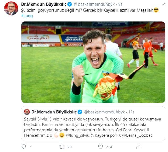 Kayseri Büyükşehir Belediye Başkanı Memduh Büyükkılıç, Silviu Lung'a fahri hemşehrilik teklif etti