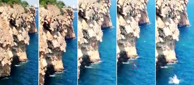 İddia için 40 metrelik falezlerden denize atlayan Rus genç, hayatını kaybetti