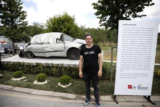 Son dakika haber... 15 Temmuz'da tankın ezdiği otomobil Esenler'de sergileniyor