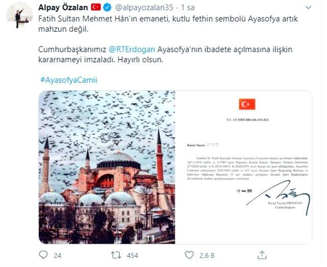 AK Parti milletvekili Alpay Özalan'dan Ayasofya paylaşımı: Fethin sembolü artık mahzun değil