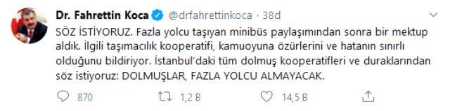 Sağlık Bakanı Koca'dan dolmuş kooperatiflerine çağrı: Söz istiyoruz, dolmuşlar fazla yolcu almayacak