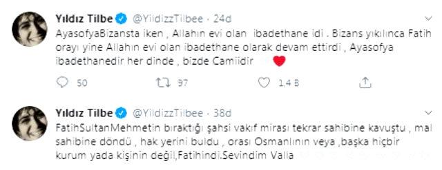 Yıldız Tilbe'den Ayasofya paylaşımı: Allah devletimize, milletimize zeval vermesin