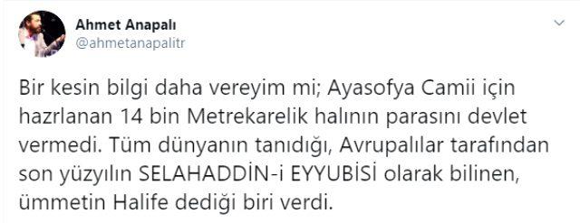 Ayasofya Camii'nin halılarının masrafını Cumhurbaşkanı Erdoğan mı karşıladı? Tarihçi isim onu işaret etti