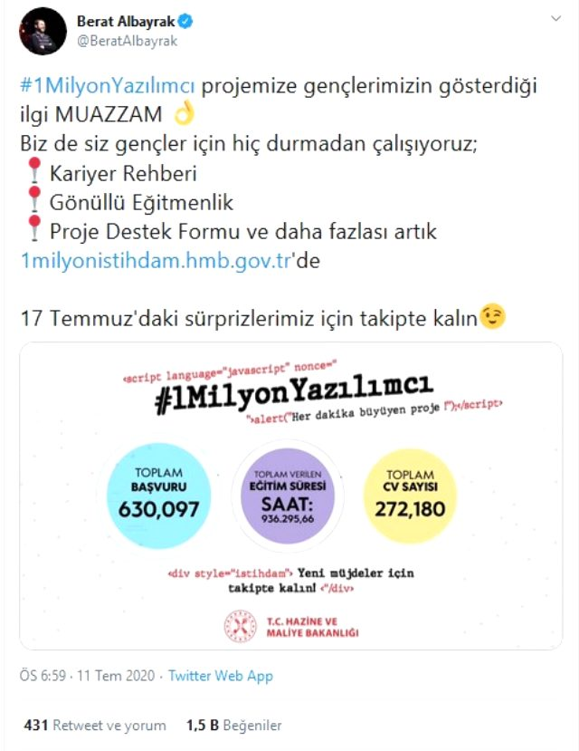 Bakan Albayrak 1 milyon yazılımcı projesine başvuru sayısının 630 bini geçtiğini duyurdu Açıklaması