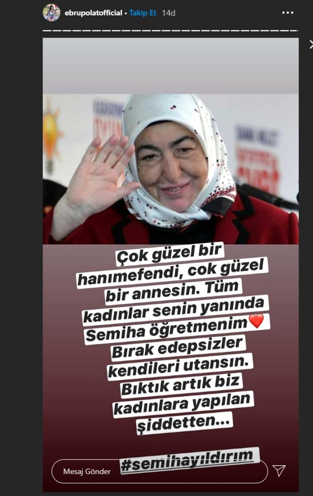 Ebru Polat'tan kötü eleştirilere maruz kalan Semiha Yıldırım'a destek