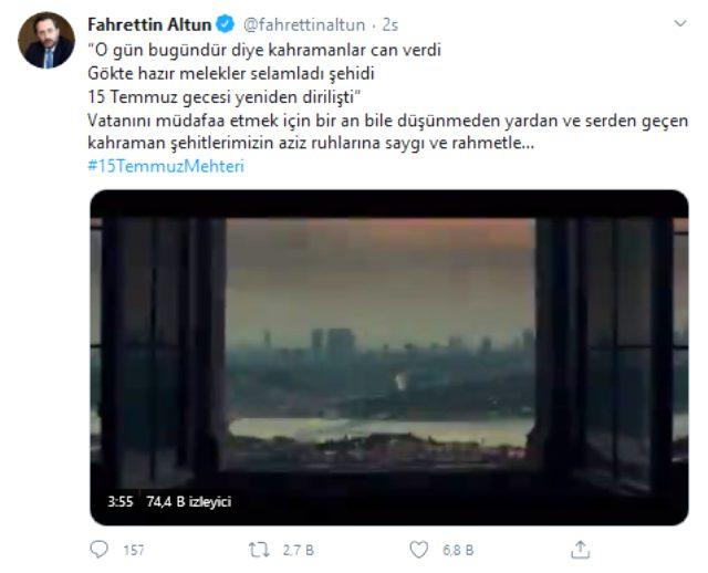 İletişim Başkanı Altun'dan 15 Temmuz Mehteri paylaşımı
