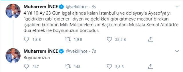 Muharrem İnce, Ayasofya'nın yeniden cami olması kararın ardından 'Atatürk'e dua etmeliyiz' dedi