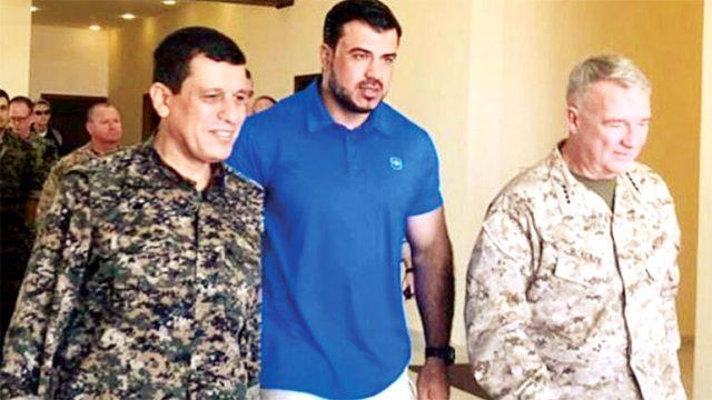 YPG'li terörist Mazlum Kobani, ABD'li komutan Frank McKenzie ile bir araya geldi