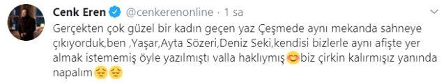 Cenk Eren'den Defne Samyeli'nin göğüs dekolteli pozuna ilginç yorum: Bizimle aynı afişte olmak istememekte haklıymış