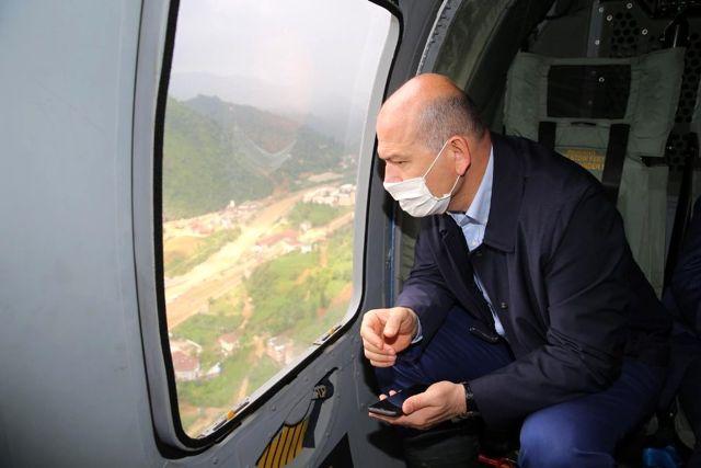İçişleri Bakanı Soylu, afet bölgelerini havadan inceledi