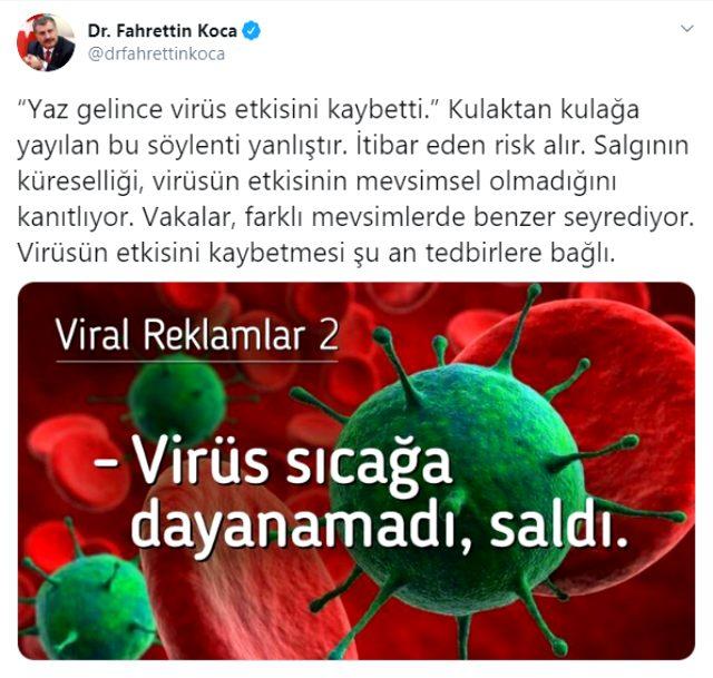 Sağlık Bakanı Fahrettin Koca 'Yaz gelince virüs etkisini kaybetti' söylentisini yalanladı