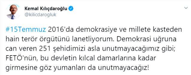 CHP Genel Başkanı Kemal Kılıçdaroğlu'ndan 15 Temmuz mesajı