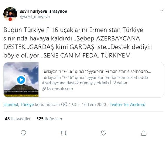 Azerbaycan basını canlı yayında duyurdu! Türk F-16'lar Ermenistan sınırında gövde gösterisi yaptı