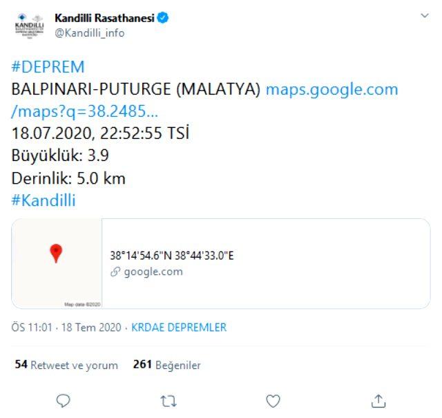 Malatya'da 3.9 büyüklüğünde deprem oldu