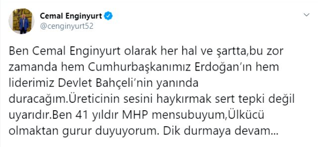 MHP'den ihraç edilmek için disipline sevk edilen Cemal Enginyurt: Cumhurbaşkanımız ve liderimizin yanındayım
