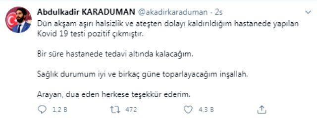 Saadet Partili Abdulkadir Karaduman'ın koronavirüs testi pozitif çıktı