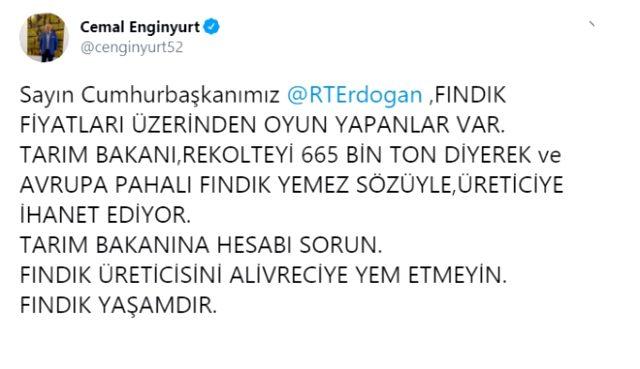 MHP'den ihracı istenen Cemal Enginyurt, Cumhurbaşkanı Erdoğan'a seslendi