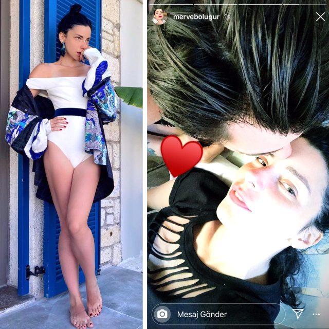 Merve Boluğur, Instagram'da yüzünü gizlediği sevgilisiyle el ele görüntülendi
