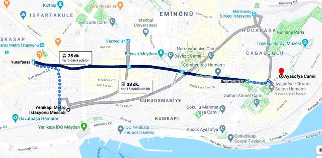 Ayasofya'ya nasıl gidilir! Ayasofya nerede? Toplu taşıma ve özel araçla Ayasofya'ya nasıl gidilir?