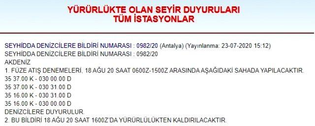 Türkiye, 18 Ağustos'ta Meis Adası açıklarında füze denemesi yapacak