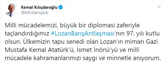 Ayasofya Camii'nde ilk namaz kılınmaya başlandığı sırada Kemal Kılıçdaroğlu Lozan Antlaşması tweeti attı