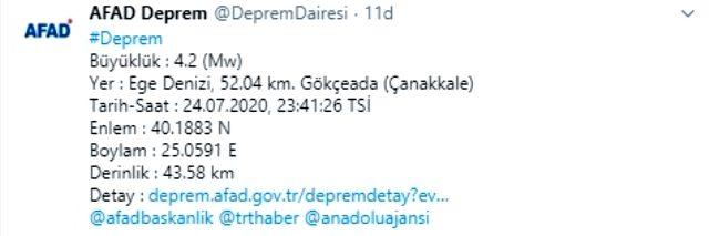 Son Dakika: Gökçeada'da 4.2 büyüklüğünde deprem meydana geldi