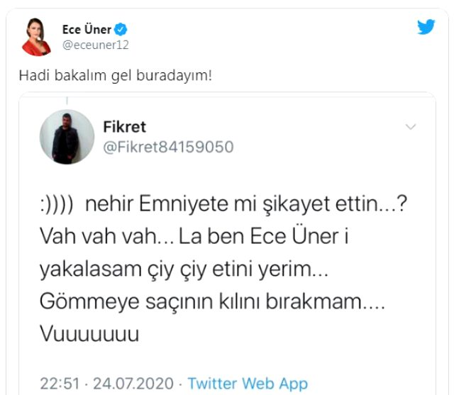 Ece Üner'den ölüm tehdidine böyle yanıt verdi: Gel buradayım