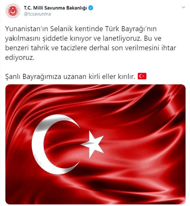 Son Dakika: Yunanistan'da Türk bayrağının yakılmasına çok sert tepki: O eller kırılır