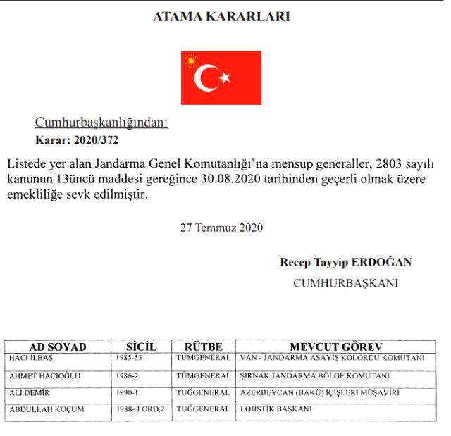 Jandarma Genel Komutanlığı'nda değişiklik! Tümgeneral Ahmet Hacıoğlu emekli edildi