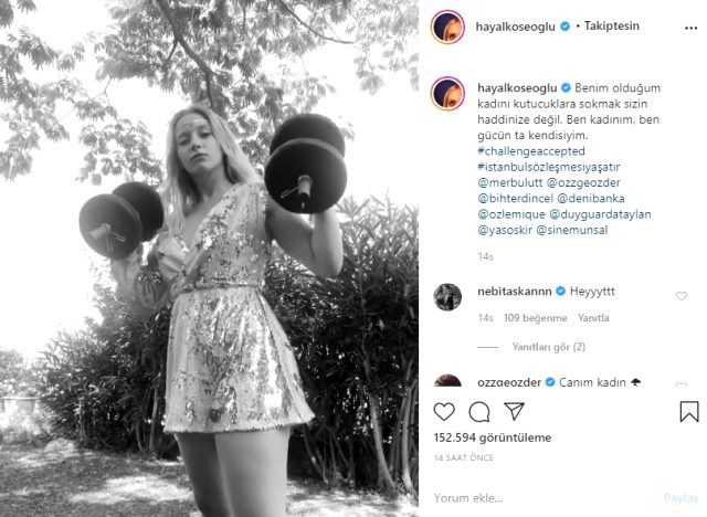 Kadına şiddete tepki gösteren Hayal Köseoğlu, ağırlık kaldırdığı videosuyla meydan okudu: Sizin haddinize değil