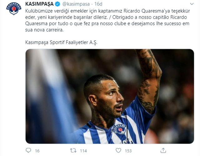 Kasımpaşa, Ricardo Quaresma ile yollarını ayırdı