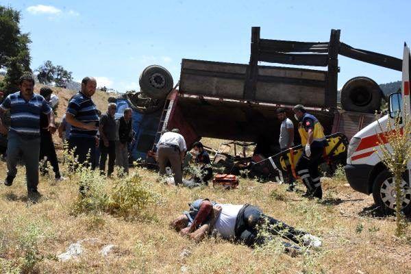 Kurbanlık yüklü kamyon şarampole devrildi: 3 kişi yaralandı, çok sayıda hayvan telef oldu