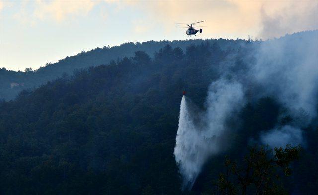 Çanakkale'de 18 saattir süren orman yangınına havadan müdahale yeniden başladı