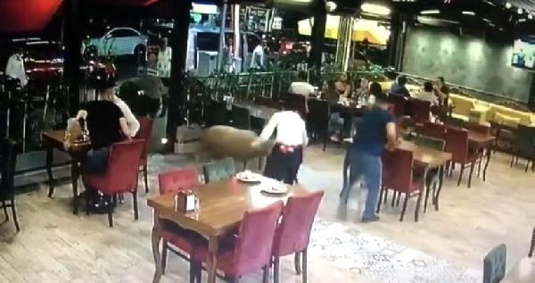 Sahibinin elinden kaçan koç restorana girdi! O anlar güvenlik kameralarına yansıdı