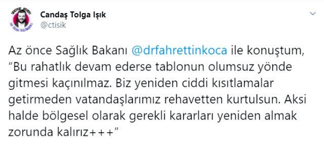 Sağlık Bakanı Fahrettin Koca 'koronavirüs kısıtlamaları geri gelebilir' sinyali verdi