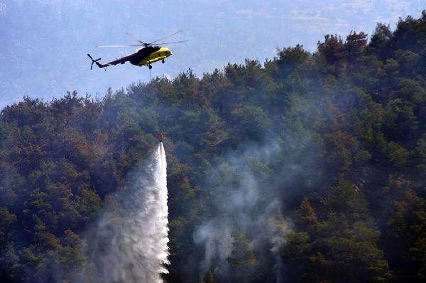 Manisa Ahmetli'deki yangını söndürme çalışmaları sürüyor (3)
