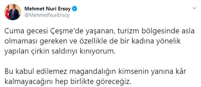 Kültür ve Turizm Bakanı Ersoy'dan Çeşme'deki darp olayına tepki Açıklaması