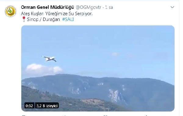 Son dakika güncel: Sinop'taki orman yangını 'ateş kuşu'nun desteğiyle kontrol altında
