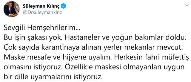 Adıyaman Belediye Başkanı Kılınç'tan vatandaşlara korona uyarısı: Hastaneler ve yoğun bakımlar doldu