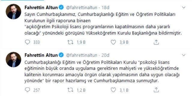 Son Dakika: Erdoğan, 'açıköğretim psikoloji lisans programlarının kapatılmasının daha yararlı olacağı' görüşünü YÖK'e bildirdi