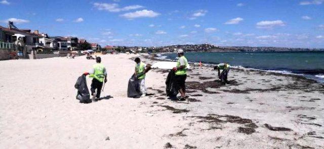 Tekirdağ'ın tatil beldesinde bayram sonrası sahilden 500 ton çöp toplandı
