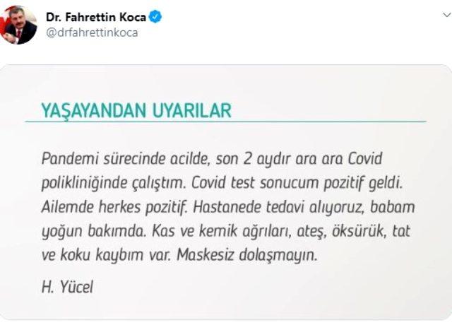 Bakan Koca, sosyal medyadan koronavirüse yakalanan bir kişinin yaşadıklarını paylaştı