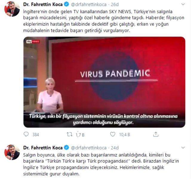 Bakan Koca, Türkiye'nin virüsle mücadelesini eleştirenlere İngilizlerin yayınıyla yanıt verdi