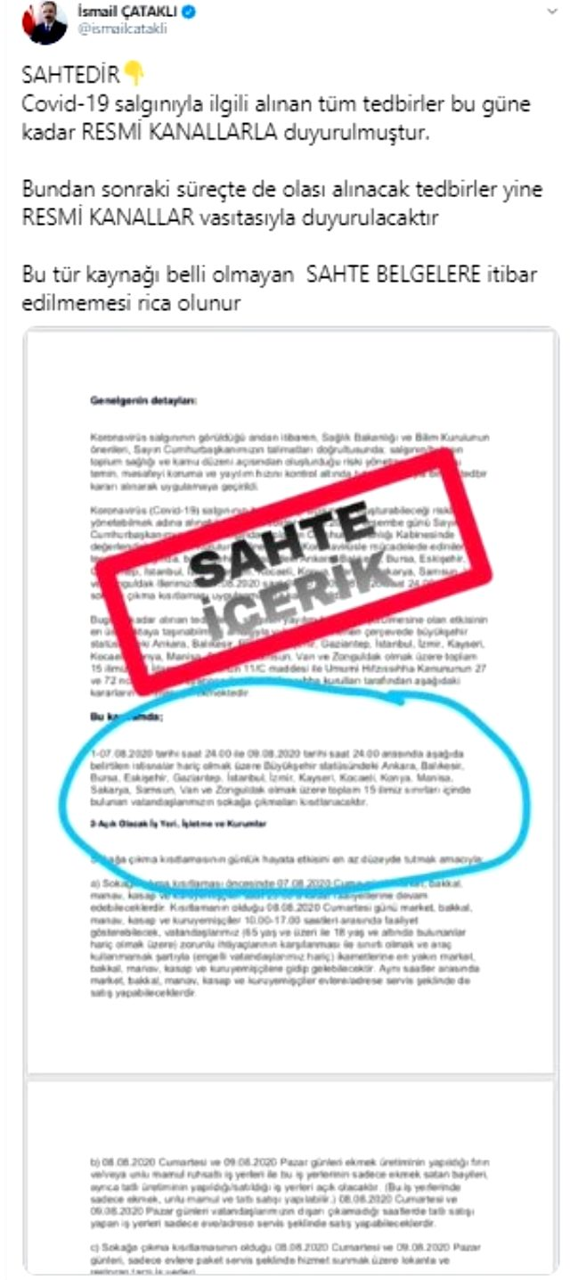 İçişleri Bakanlığı'ndan hafta sonu sokağa çıkma kısıtlaması iddiasına yanıt: Sahte belgelere itibar etmeyin