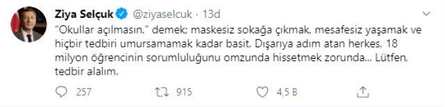 Milli Eğitim Bakanı Ziya Selçuk: 'Okullar açılmasın' demek maskesiz sokağa çıkmak kadar basit