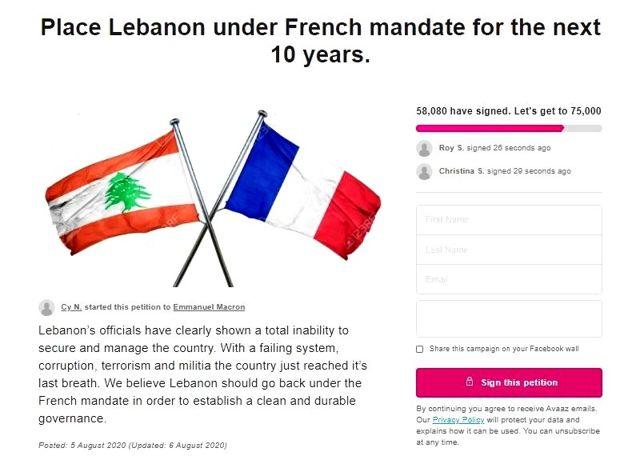 Lübnan'da Fransız yönetimi için imza kampanyası başlattılar