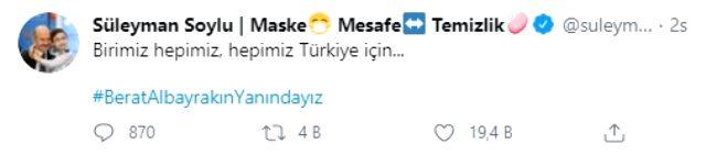 Soylu'dan Albayrak'a destek paylaşımı: Birimiz hepimiz, hepimiz Türkiye için
